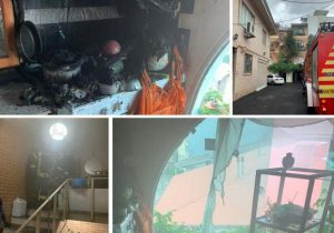 نجات خانم ۷۰ ساله از میان آتش و دود در خیابان حشمت رشت