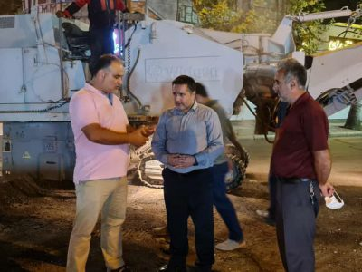 بازدید شبانه شهردار لنگرود مهندس رجائی از عملیات آماده سازی میدان انقلاب اسلامی شهر لنگرود