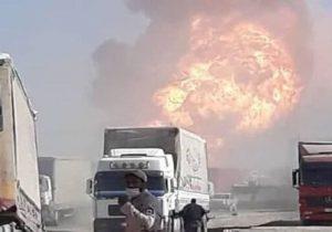 پرتاب یک کانتینر بار براثر شدت انفجار در گمرک افغانستان + فیلم