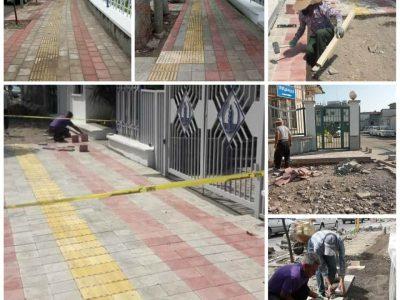 اجرای مناسبسازی خیابان پرستار برای تردد معلولین و نابینایان توسط شهرداری رشت