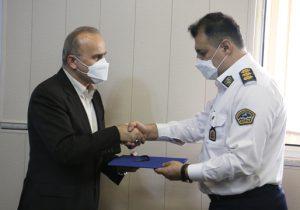 به مناسبت هفته نیروی انتظامی انجام شد؛ دیدار مدیرعامل شرکت آبفای گیلان با رئیس پلیس راهور استان